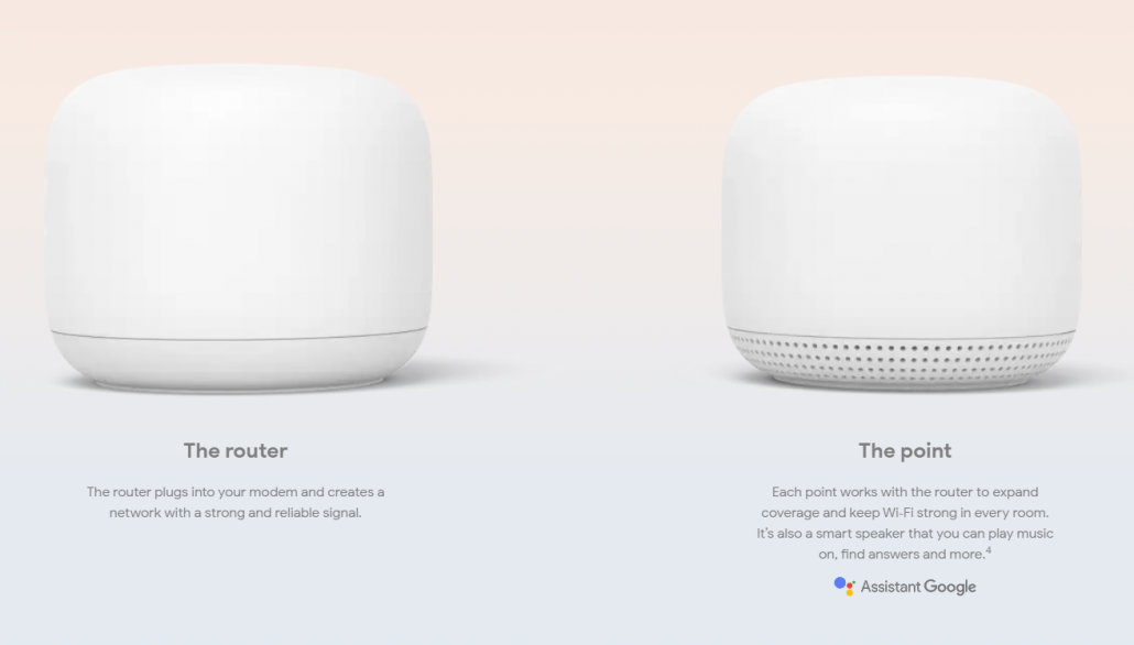 google nest wifi router and wifi access point in white