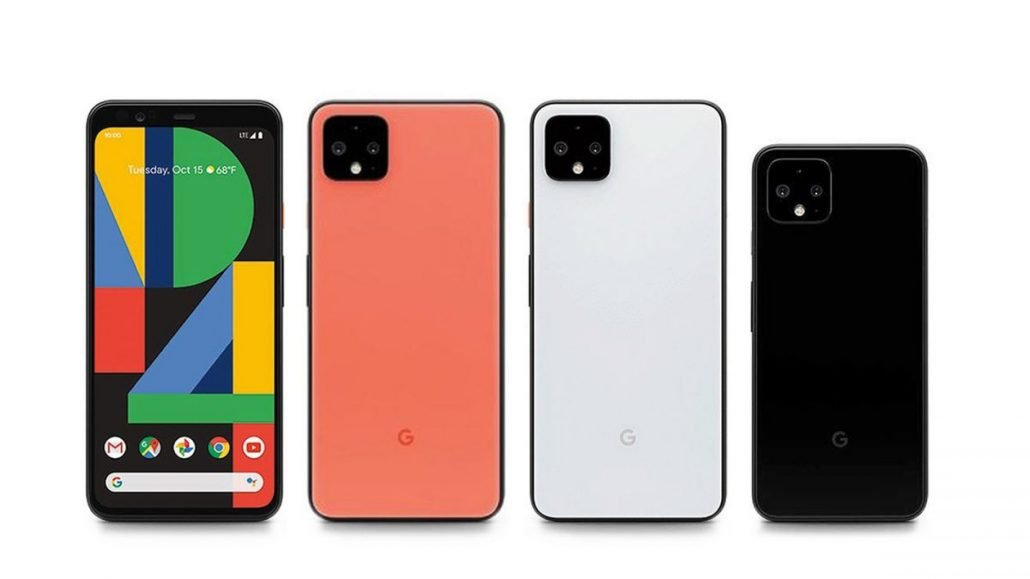the pixel 4 and pixel 4 xl smart phones shown in orange, white and black