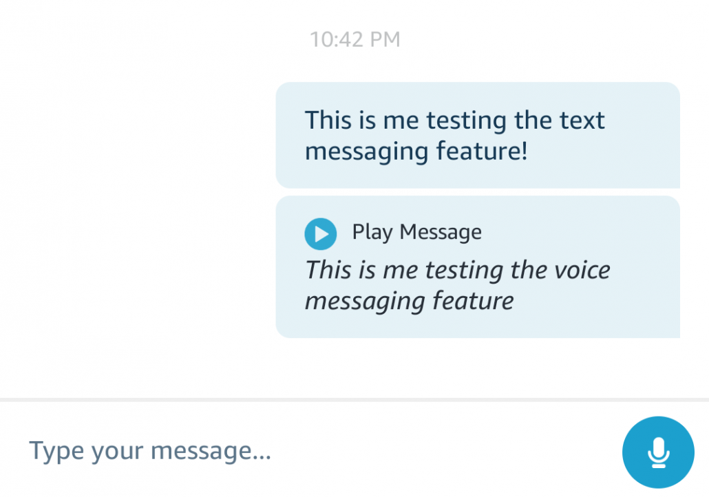 Screenshot of the Amazon Alexa App text and voice messaging screen.