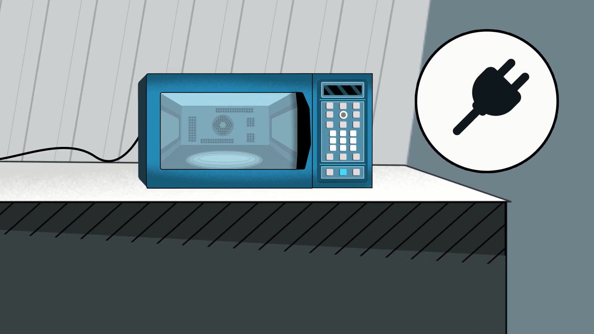 Illustration of the Amazon Smart Oven sitting on top of a counter. There is a electrical cord plug icon beside it.