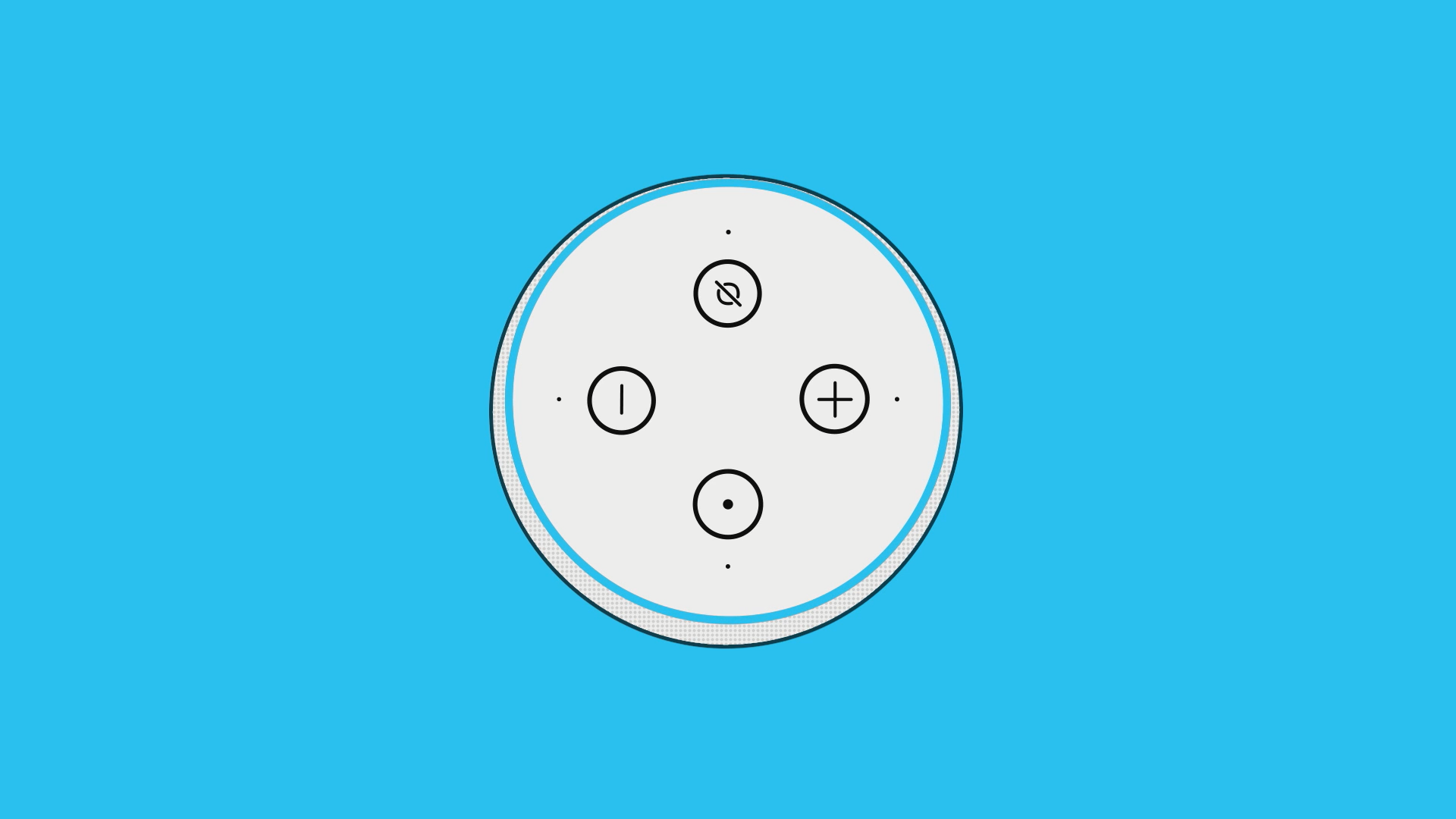 Illustration of the top view of an Amazon Echo device. The ring light is blue.