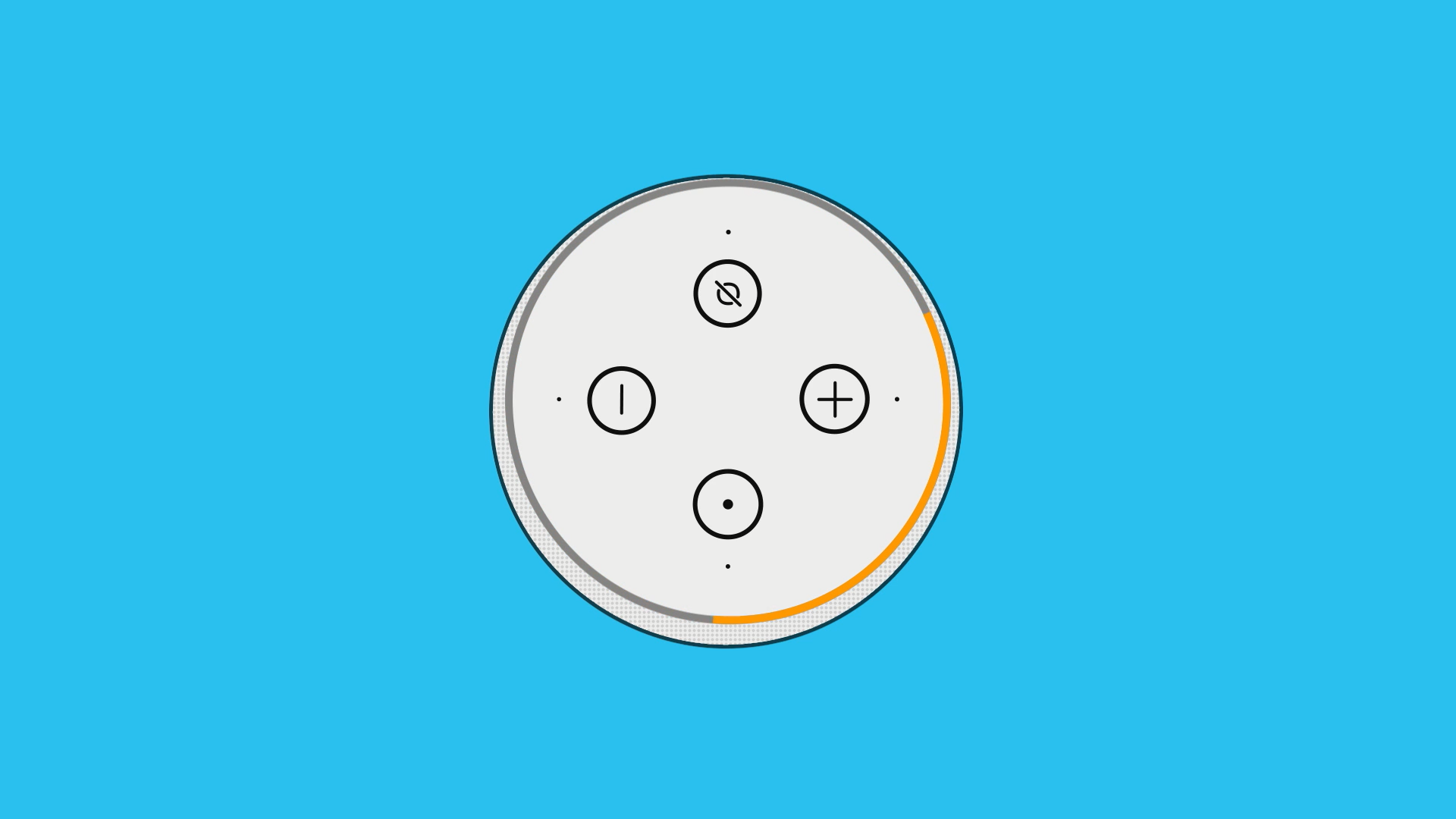 Illustration of the top view of an Amazon Echo device. The ring light is orange.