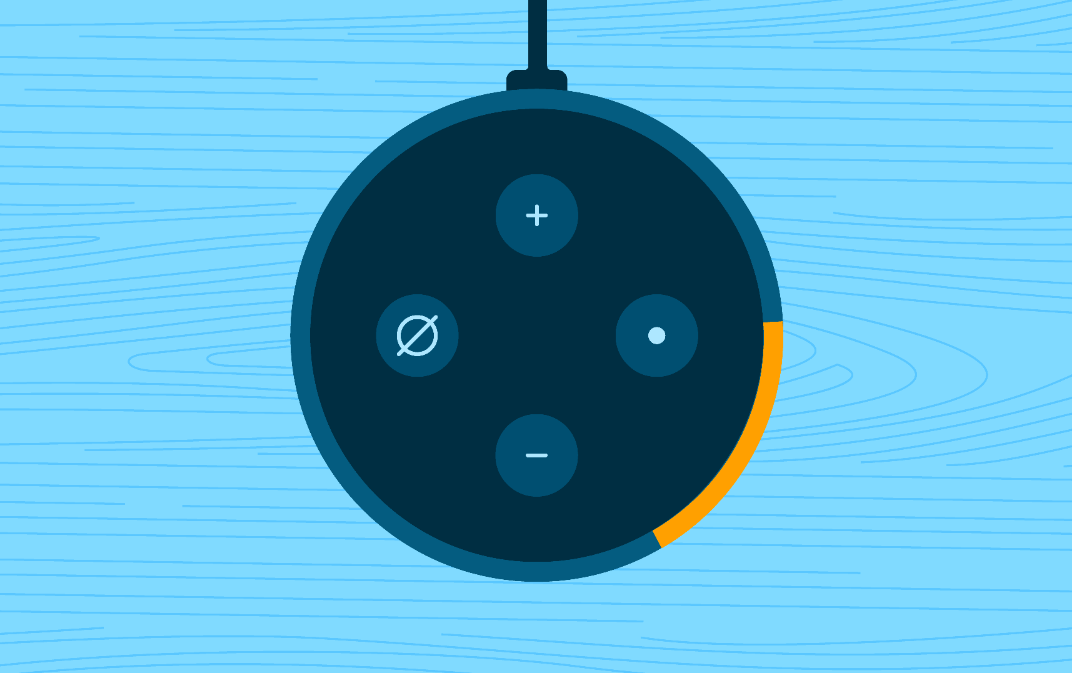 Screenshot from the Amazon Alexa app Echo device setup process. It shows an Echo Dot with the light ring in orange.