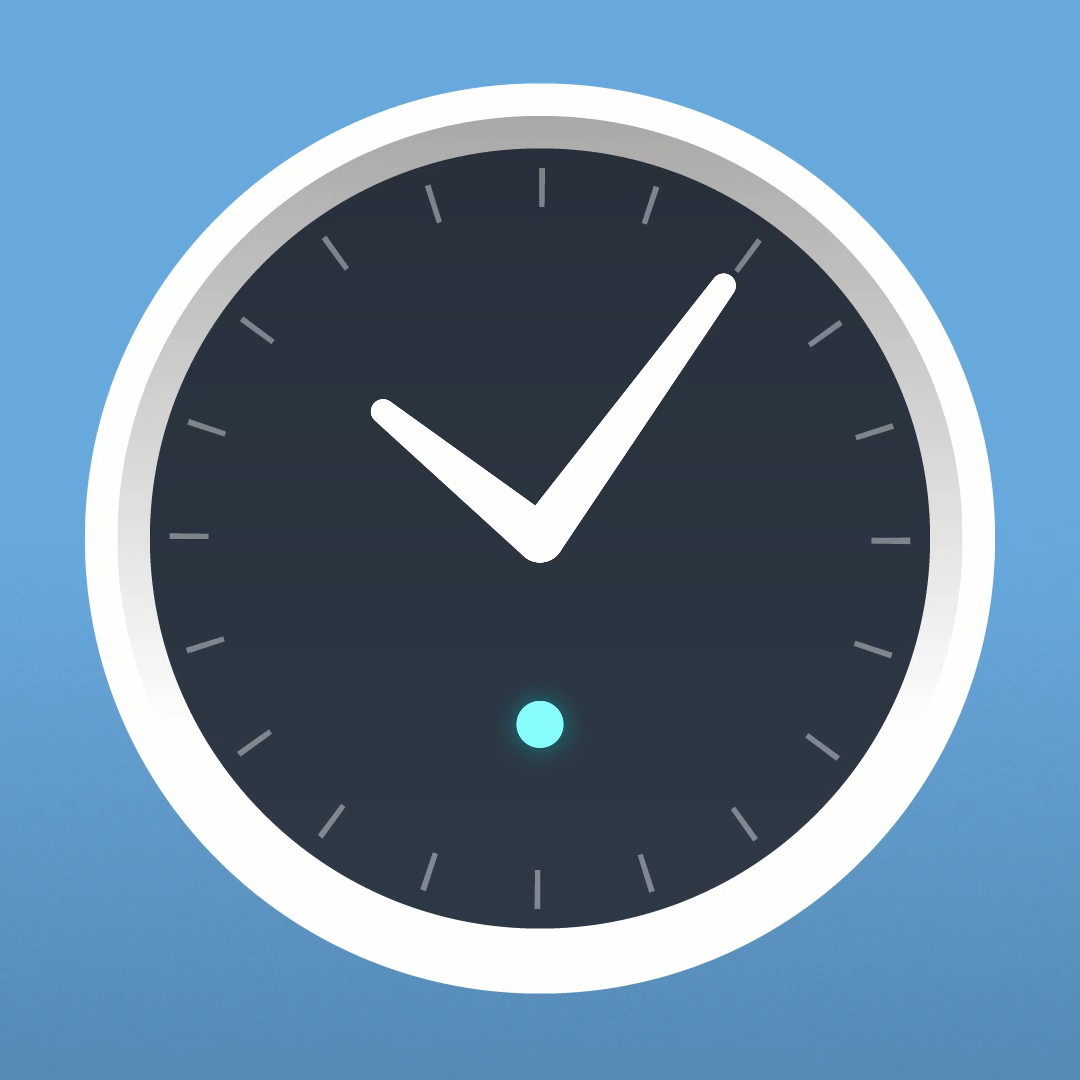 Illustration of the Amazon Echo Wall Clock. The status LED is lit blue, indicating the clock has paired to a echo device.