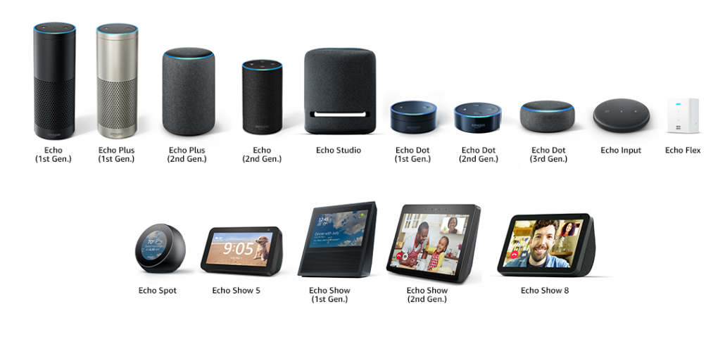 Consolidated image of all Amazon Echo devices that are compatible with the Amazon Echo Wall Clock.