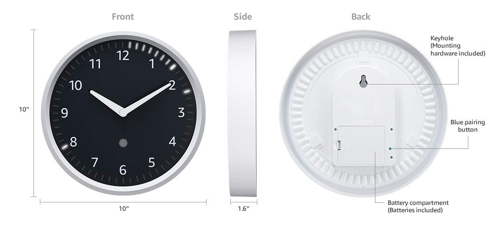 Image of the Amazon Echo Wall Clock. The clock is shown from the front, side and back, along with measurments for each view.