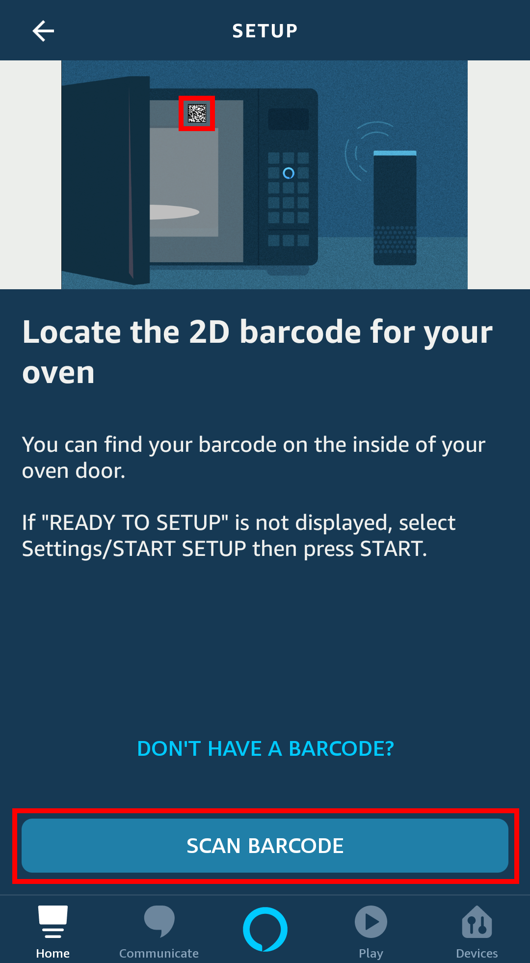 Screenshot of the Amazon Alexa app. The screen is showing the barcode scanning process to follow to add an Amazon Smart Oven.