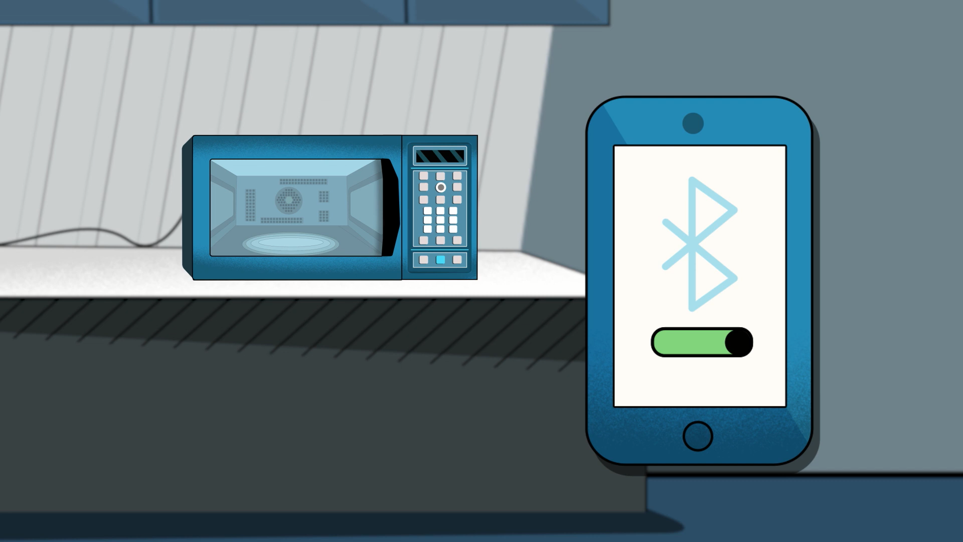 Illustration of the Amazon Smart Oven sitting on top of a counter with a smartphone in the foreground displaying the Bluetooth symbol.