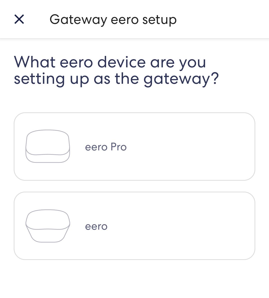 eero app setup select device screen