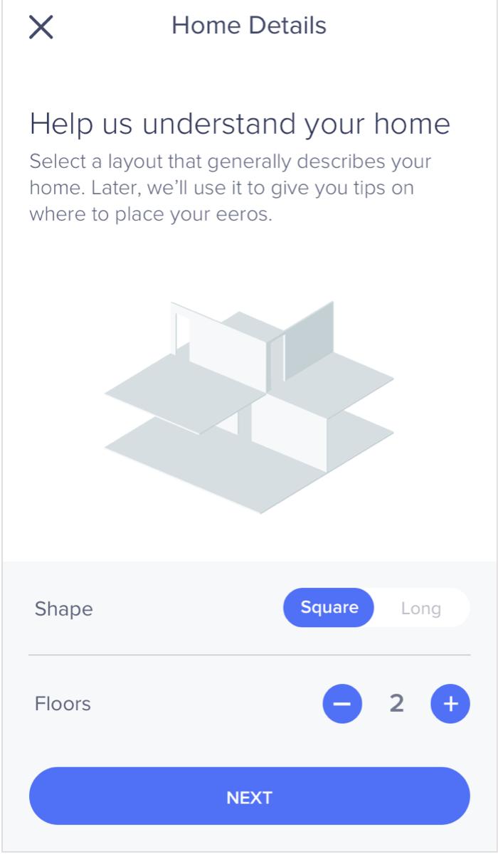 eero app setup home layout screen