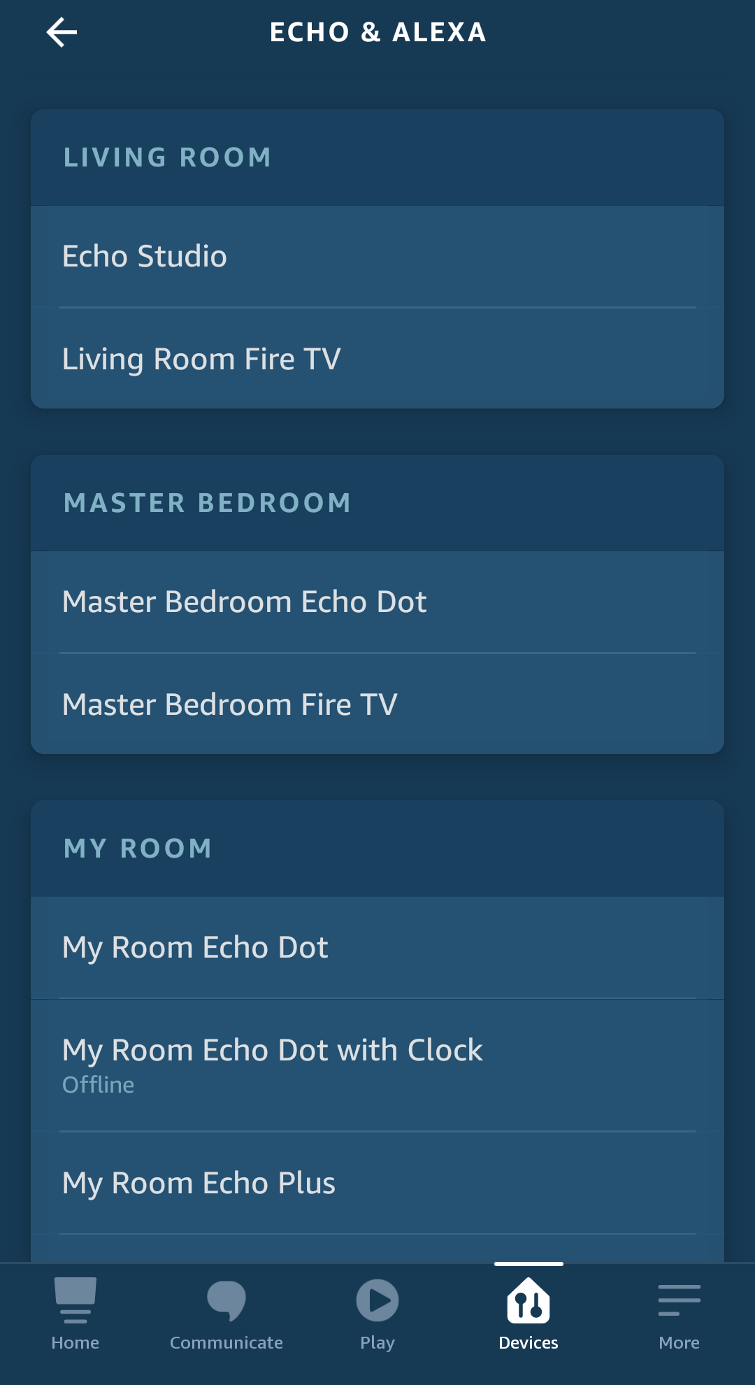 Alexa app select device