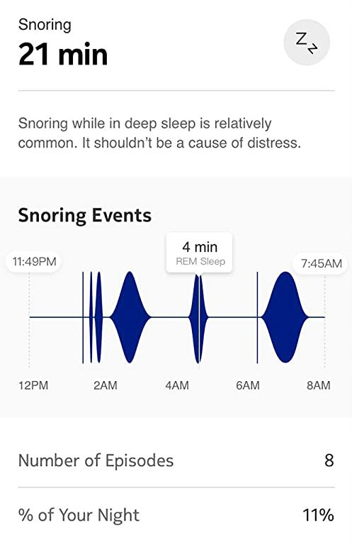 Withings Sleep Mat snore detection