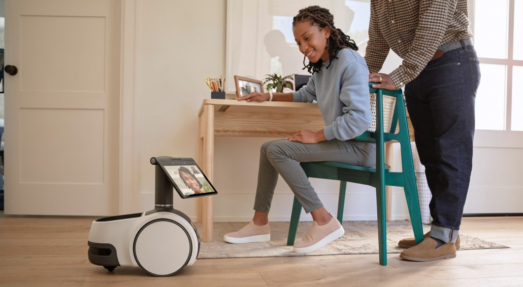 Amazon Astro being used to check in on family members