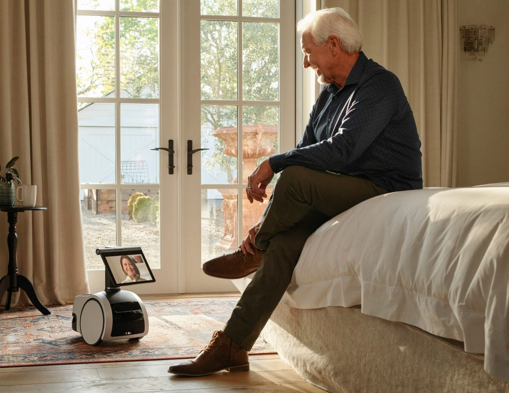 Amazon Astro viedo chat with elderly loved ones